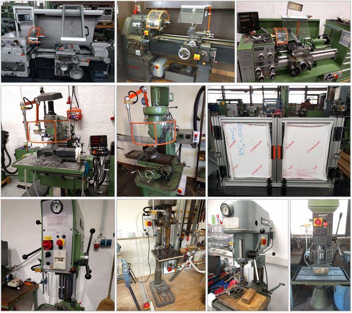 Schutzeinrichtung für Drehmaschinen - Fräsmaschinen - Bohrmaschinen zum Nachrüsten